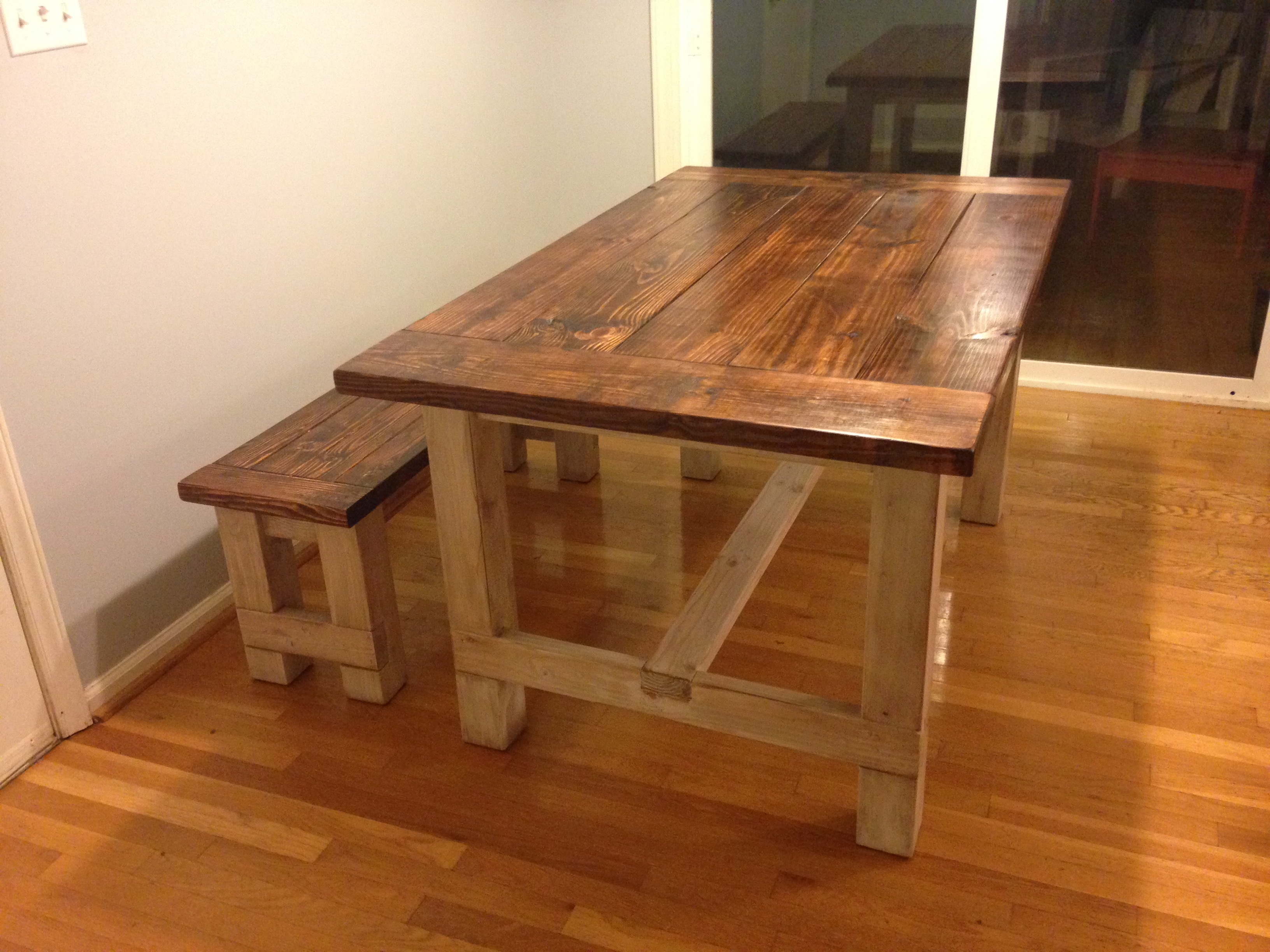 Ana White Smaller Farmhouse Table And Bench Diy Projects
