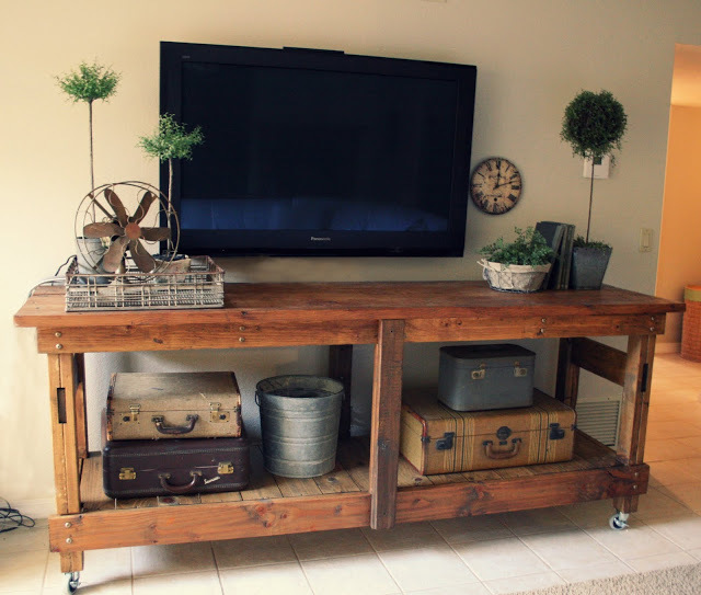 Angle view of industrial console table