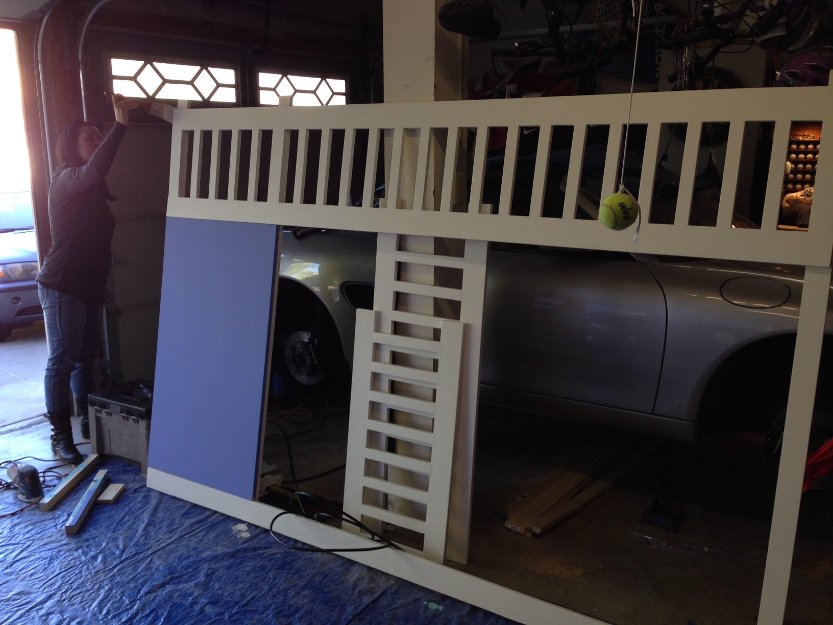 ana white | full size playhouse loft bed with storage stairs - diy