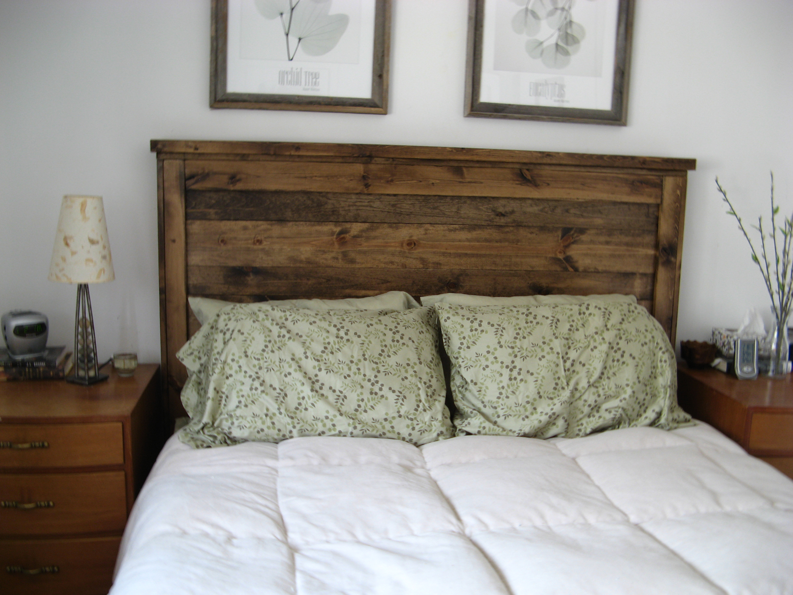 First Project- reclaimed wood look Queen headboard!