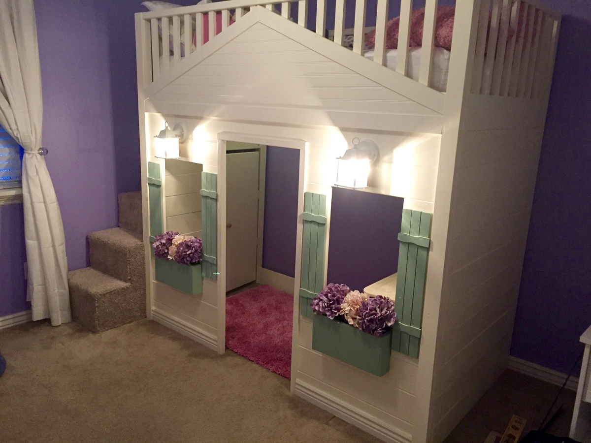 Build Cabin Plans With Loft Diy Pdf Wood Podium Plans Do: Cottage Loft Bed Playhouse With Stairs, Lights