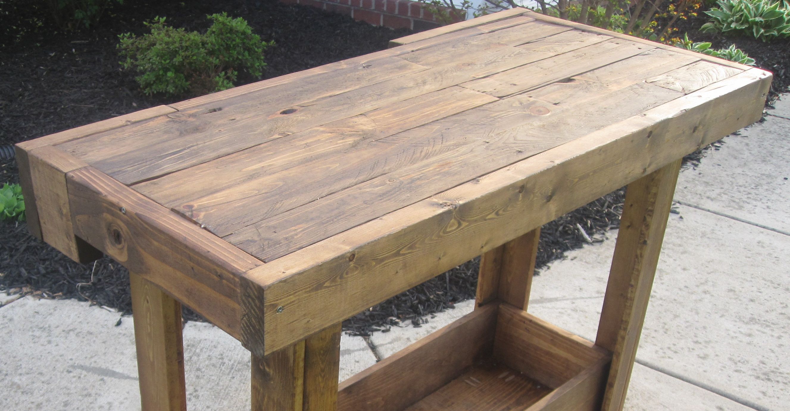 Delightful Antique Workbench Console