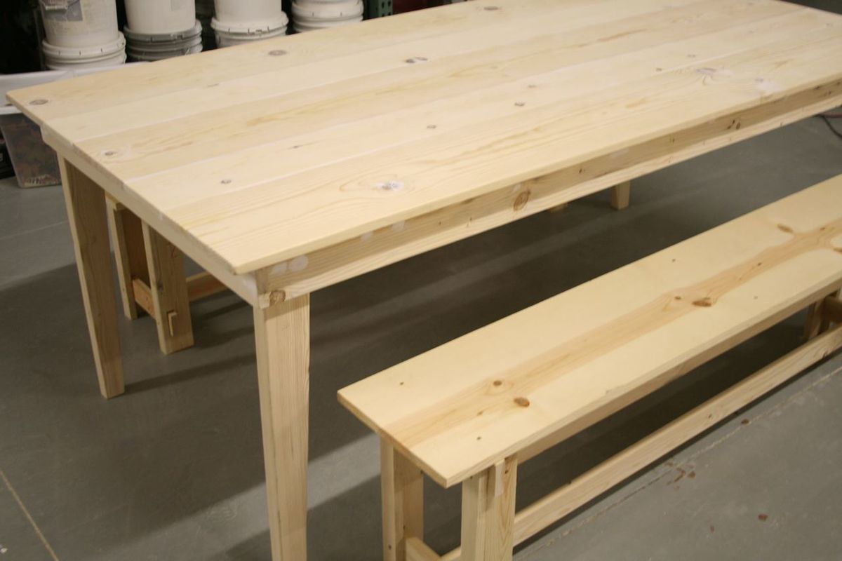 Ana White Rustic Farm Table And Benches Diy Projects