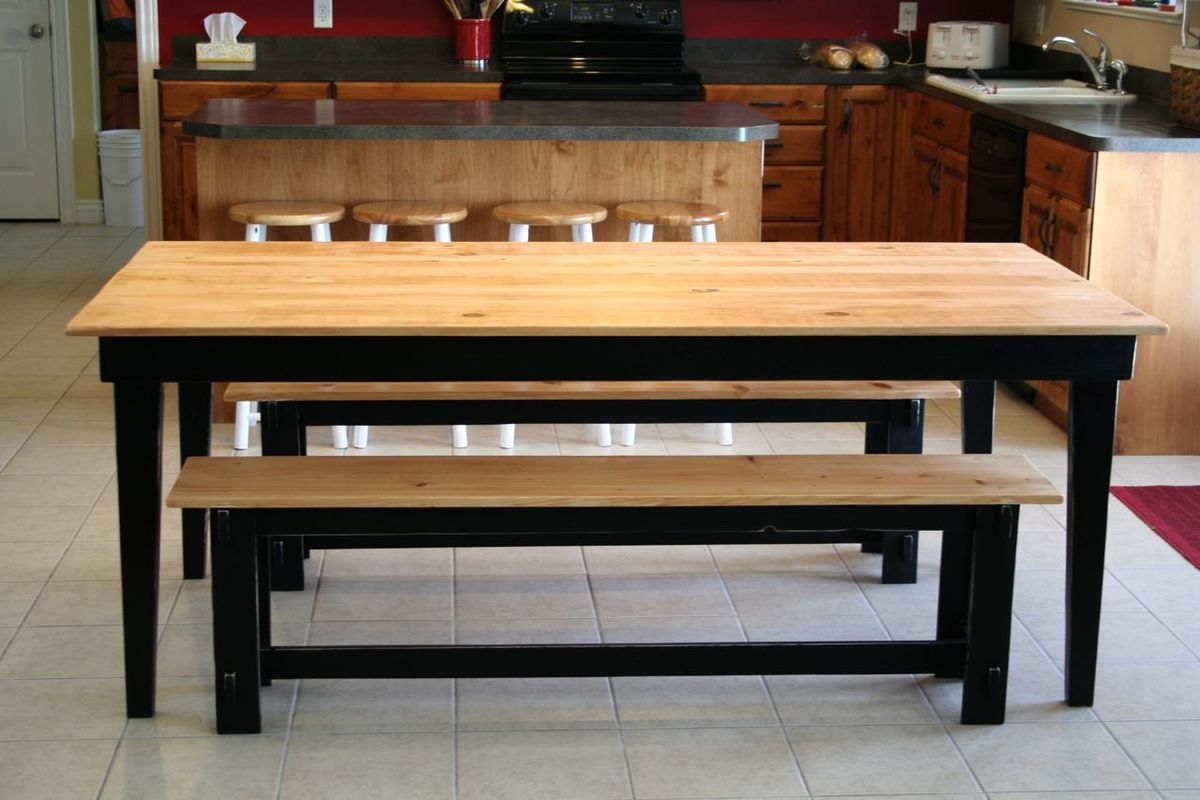 Ana white rustic farm table and benches diy projects for Kitchen table designs plans