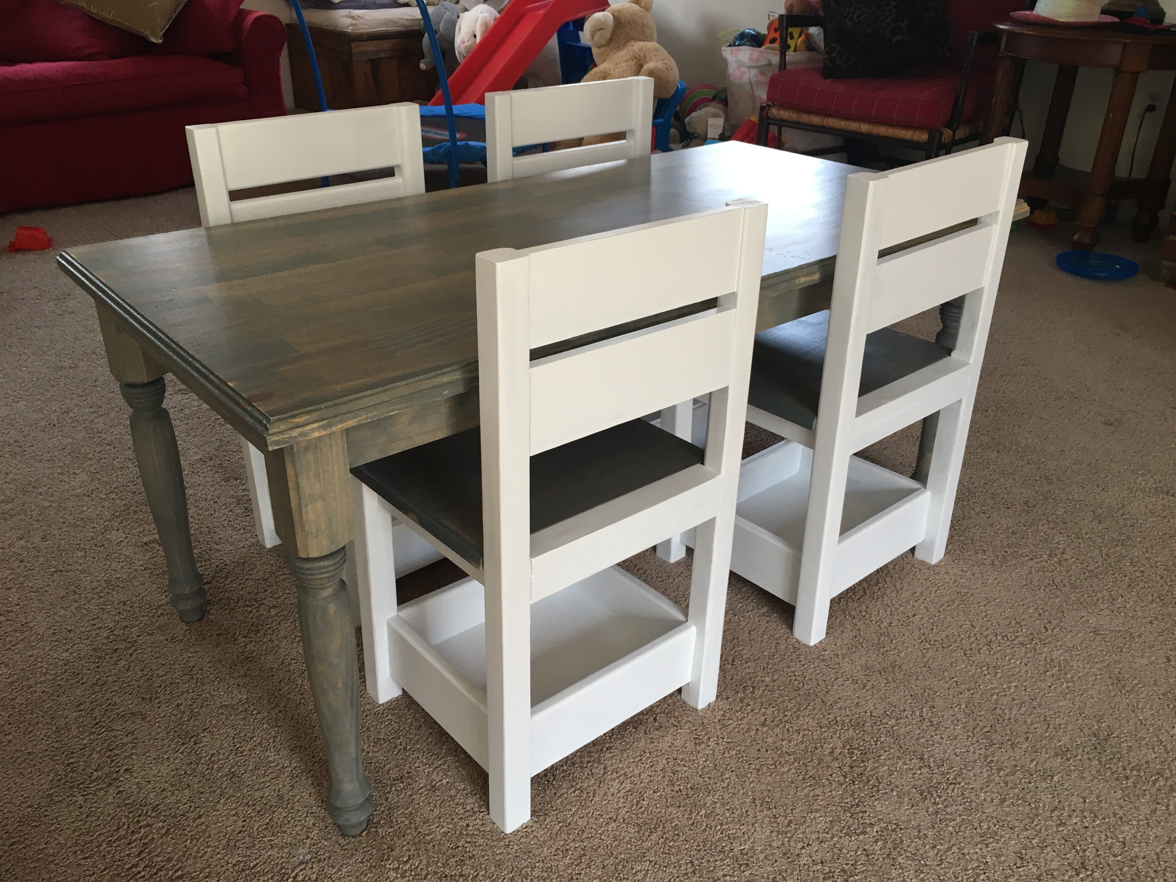 Ana White Children S Farmhouse Table And Storage Chairs