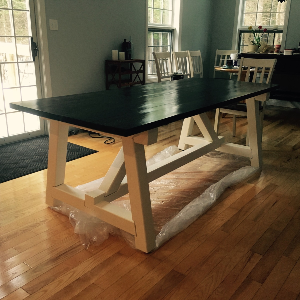 Ana white 4x4 truss harvest table diy projects for 4x4 dining table
