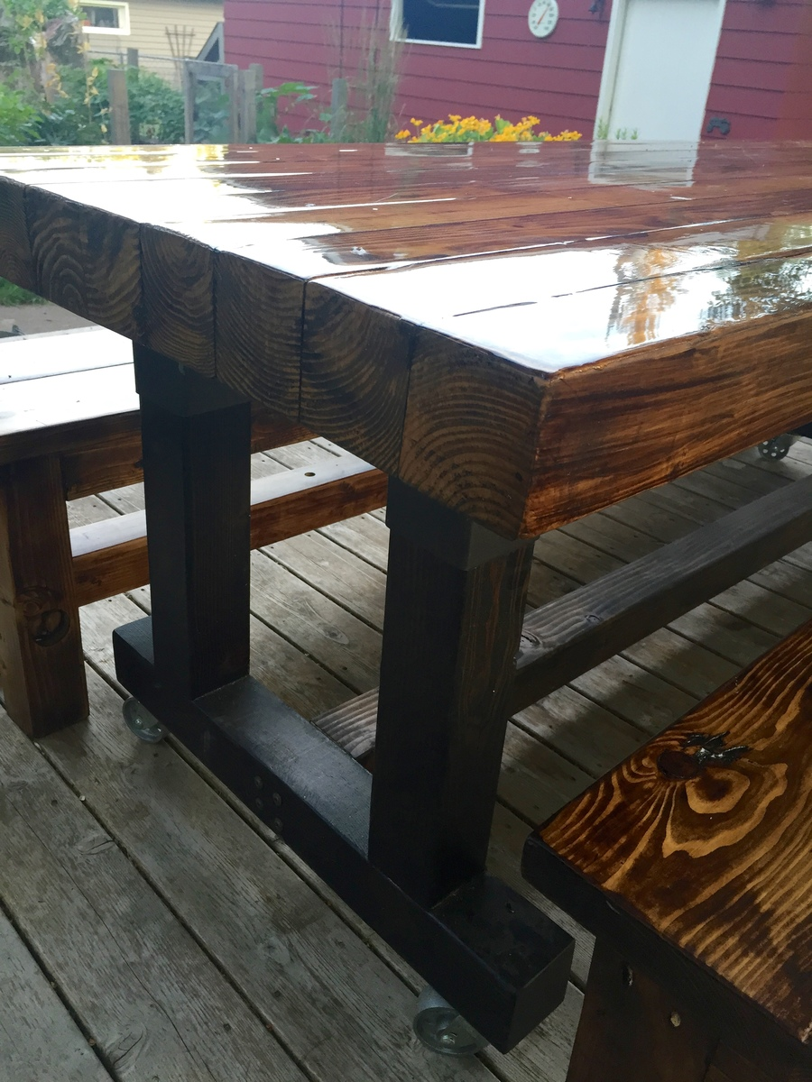 Ana White Butcherblock Farmhouse Table And Benches Diy