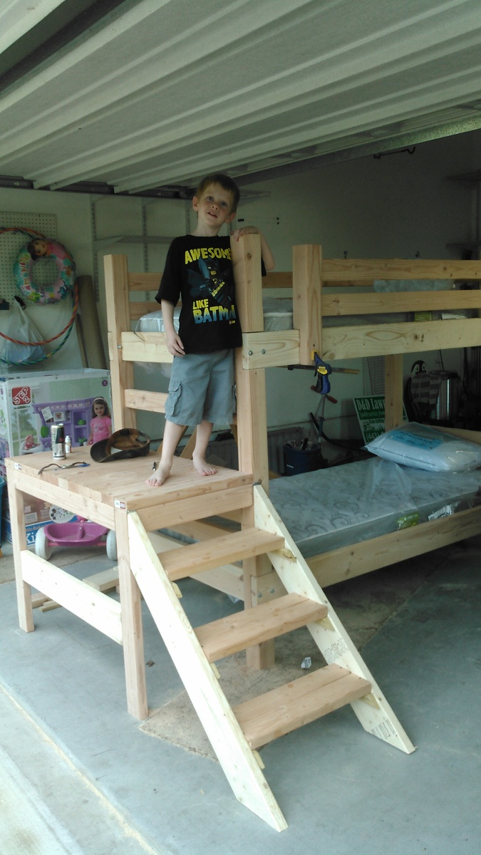 Ana White Altered Camp Loft Bed W Stairs Diy Projects