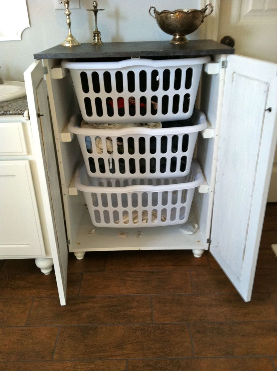 ana white | my laundry basket dresser with doors - diy projects Laundry Basket Cabinet