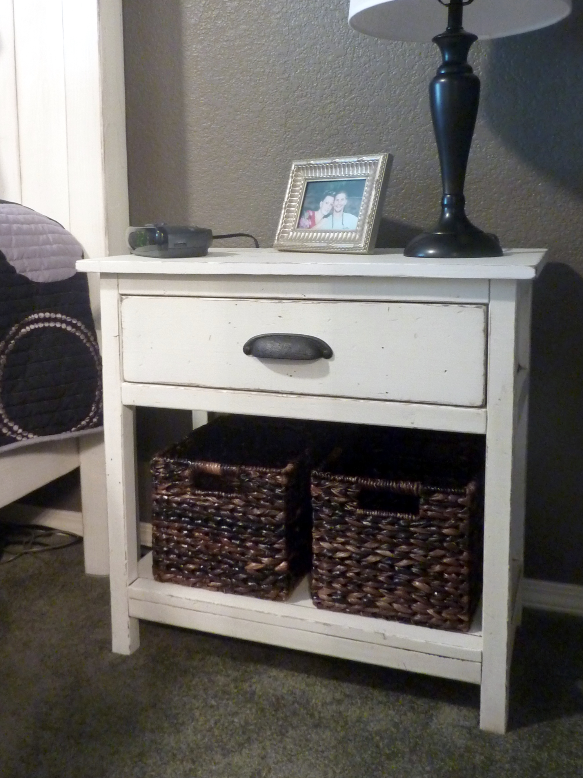 Ana white farmhouse bedside table diy projects for Simple nightstand designs