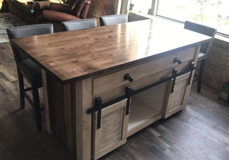 Kitchen Island With Butcher Block And Reclaimed Wood Ana
