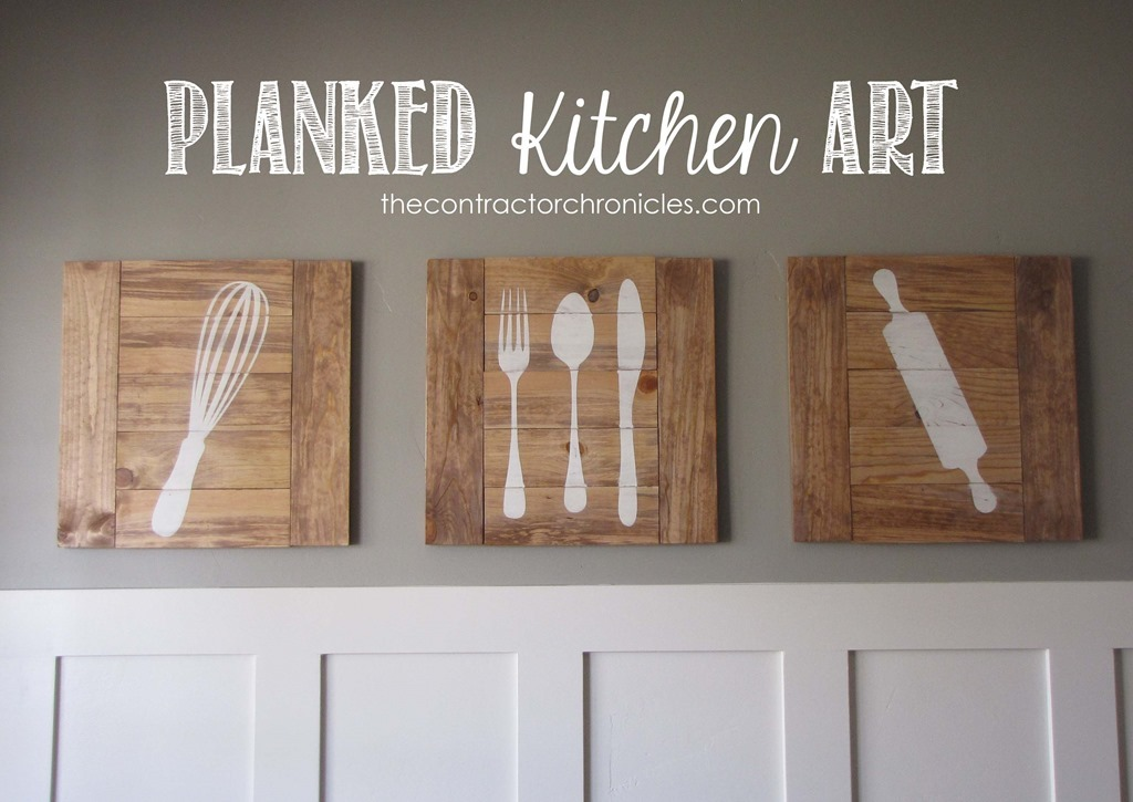 Ana white planked kitchen art feature by the for Kitchen wall art ideas