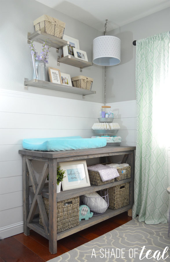 Ana white rustic grey changing table diy projects - Baby crib for small spaces plan ...