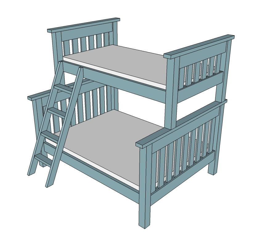 Simple Bunk Bed Plans Twin Over Full Ana White