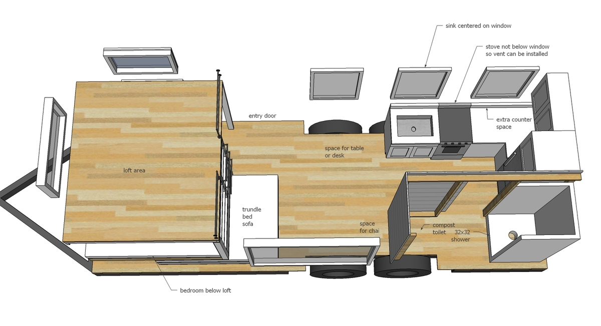 Tiny House Blueprints 184 best images about tiny house floor plans on pinterest tiny homes on wheels gooseneck trailer and the loft I Tried To Keep The Balanced Look On The Front Side By Dividing Up The Main Window Into Three Smaller Windows This Is Also Good For Transport
