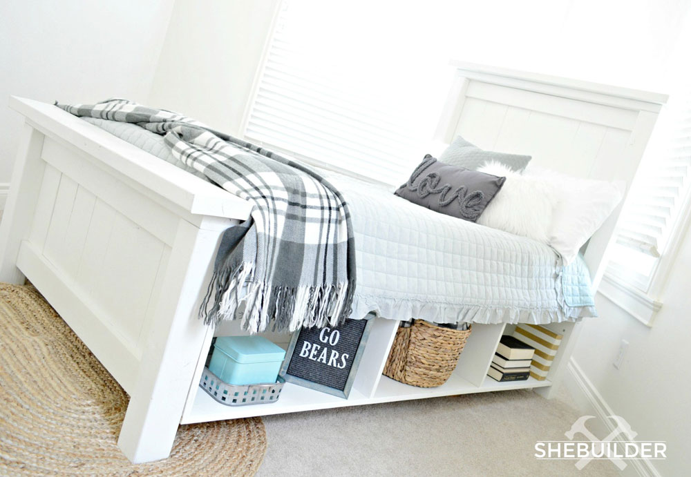 farmhouse bed with storage sides