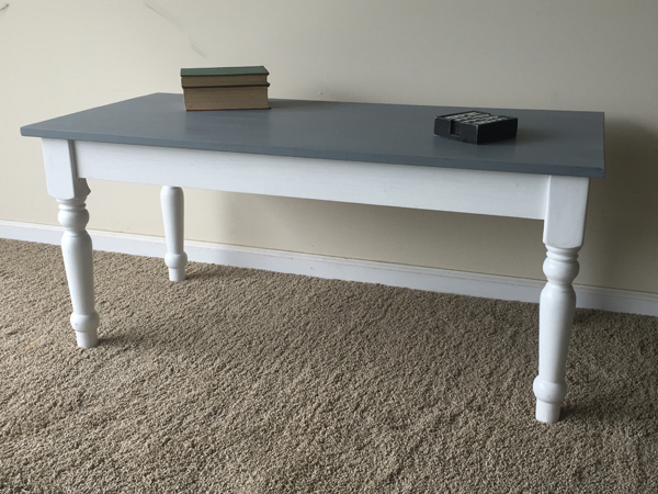 ana white planked top coffee table with recycled legs