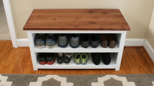 Adjustable Shoe Storage Bench Front Shot