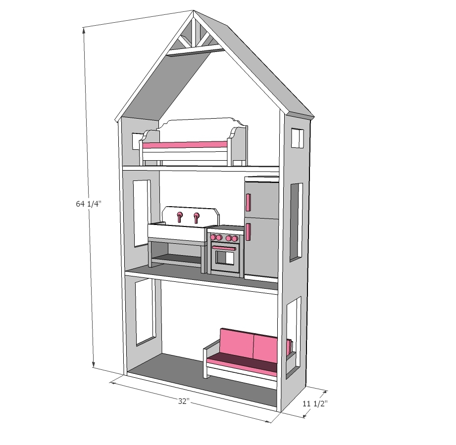 Ana White Smaller Three Story Dollhouse for 18 and American