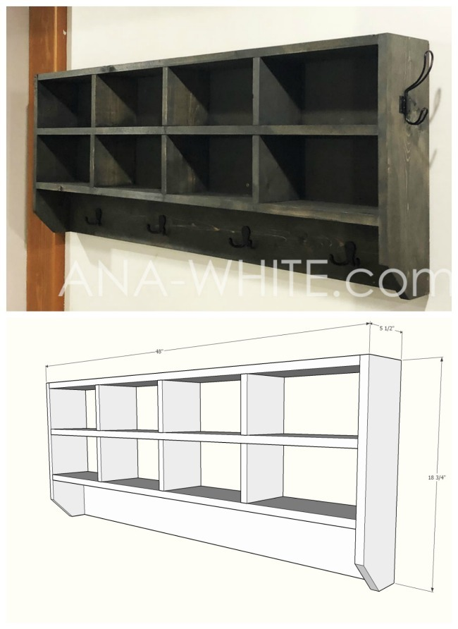 Outstanding Cubby Organizer With Hooks Ana White Home Remodeling Inspirations Cosmcuboardxyz