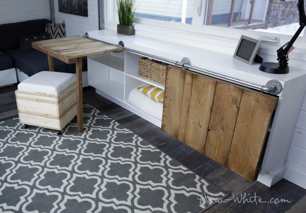 Ana White Sliding Door Console With Fold Up Tables For Tiny House