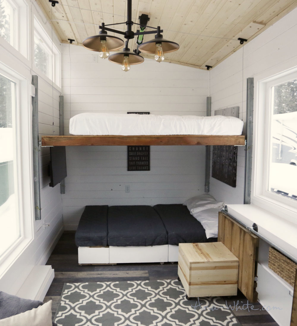 open concept rustic modern tiny house photo tour and sources ana it s really not that high and the bed could be set even lower but might require some couch pillow rearranging every night