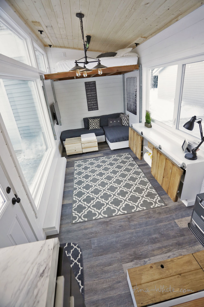 Open concept rustic modern tiny house photo tour and sources ana white woodworking projects - The modern tiny house ...