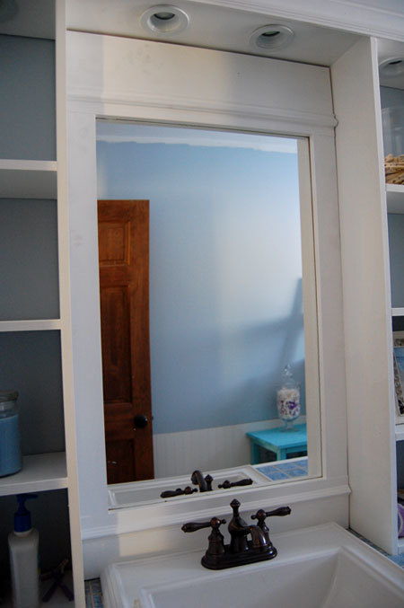 custom vanity mirror with storage shelves