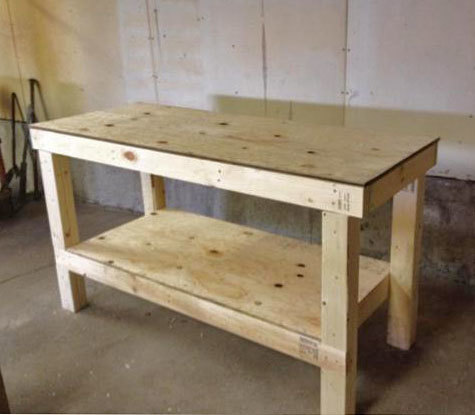 easy diy garage workshop workbench knock off wood