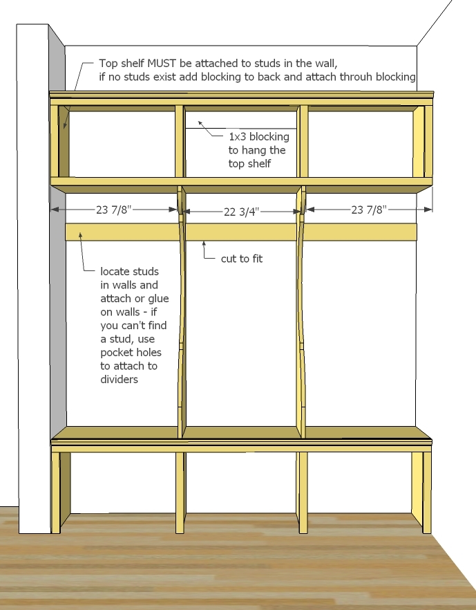 For A Freestanding Mudroom You Can Add End Dividers But Must Support That Top Shelf By Hanging It To Studs In The Wall See Next Step