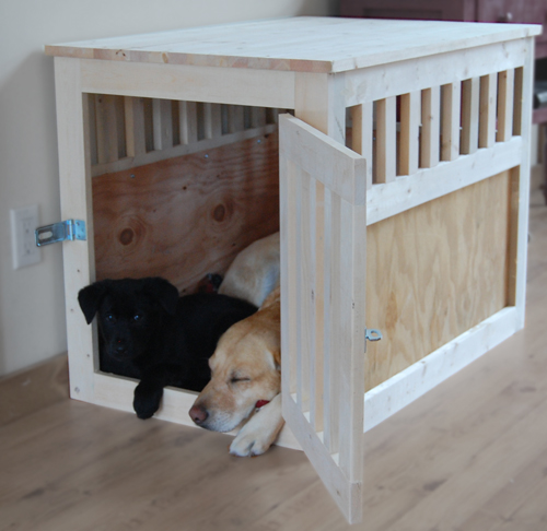 we choose to leave the kennel unfinished because puppies tend to chew and scratch but now that avery is growing up it may be time to paint - Wooden Dog Crate End Tables