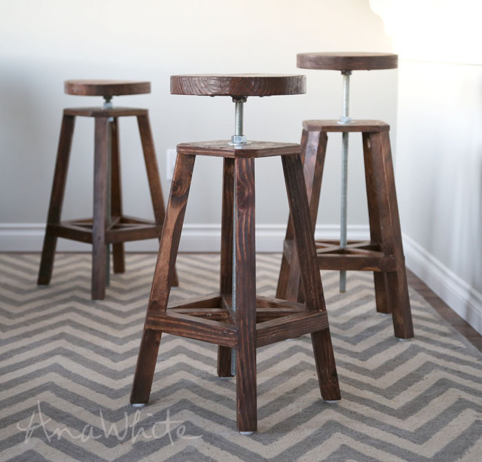 diy industrial style adjustable height bar stools plans by anawhitecom