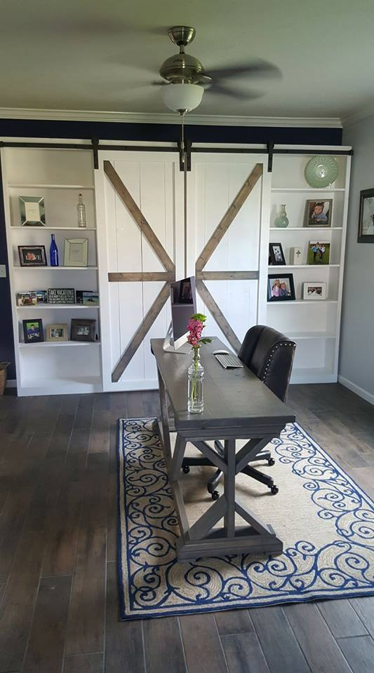 Ana White Barn Door Storage Wall And Trestle Desk Diy Projects