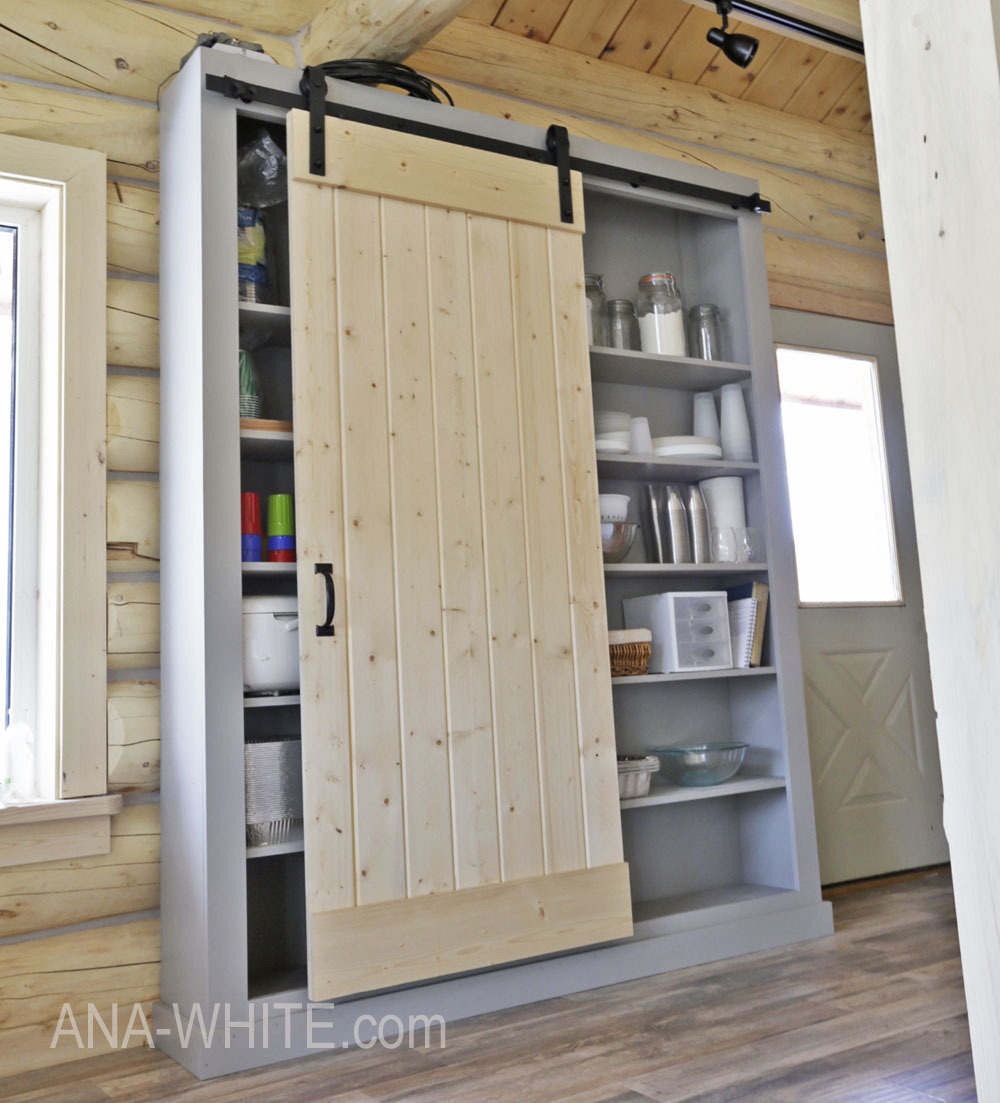 White Farmhouse Sliding Door Cabinet: Barn Door Cabinet Or Pantry