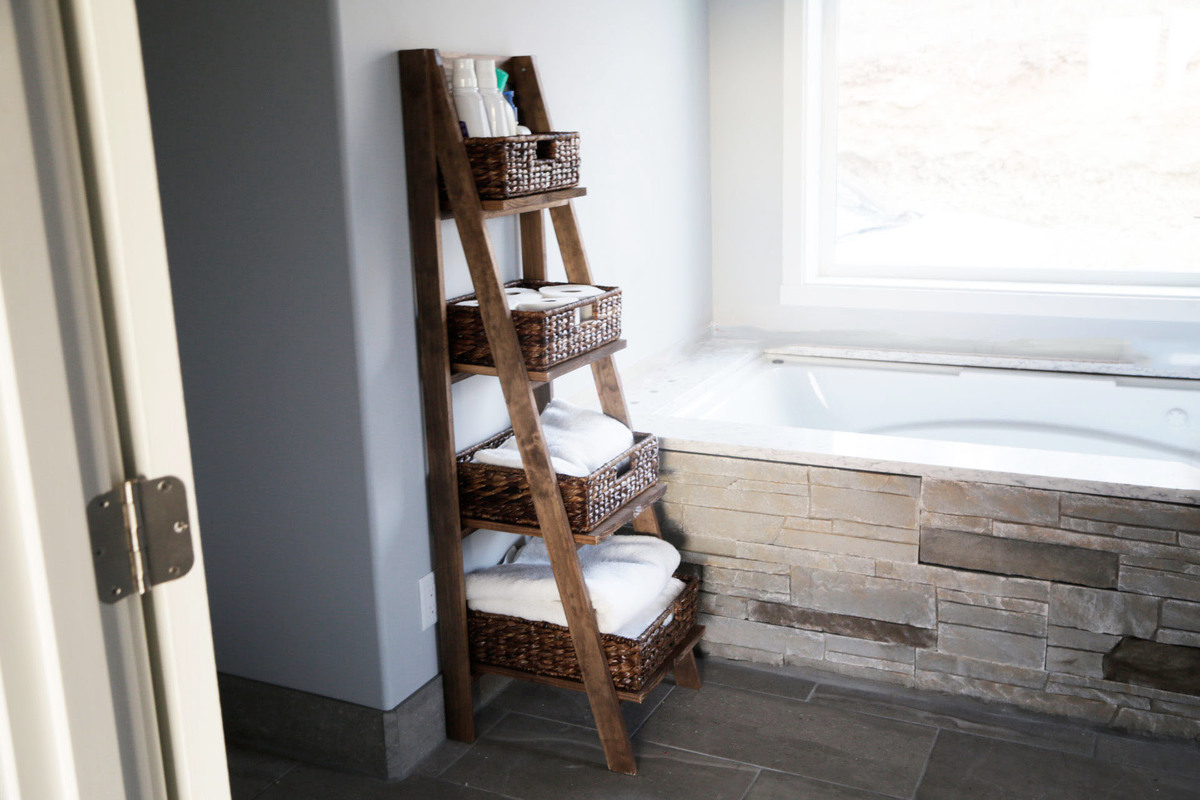 Just 1x3s And 1x8s To Make This Wooden Ladder Shelf Free Diy Plans By ANA WHITE