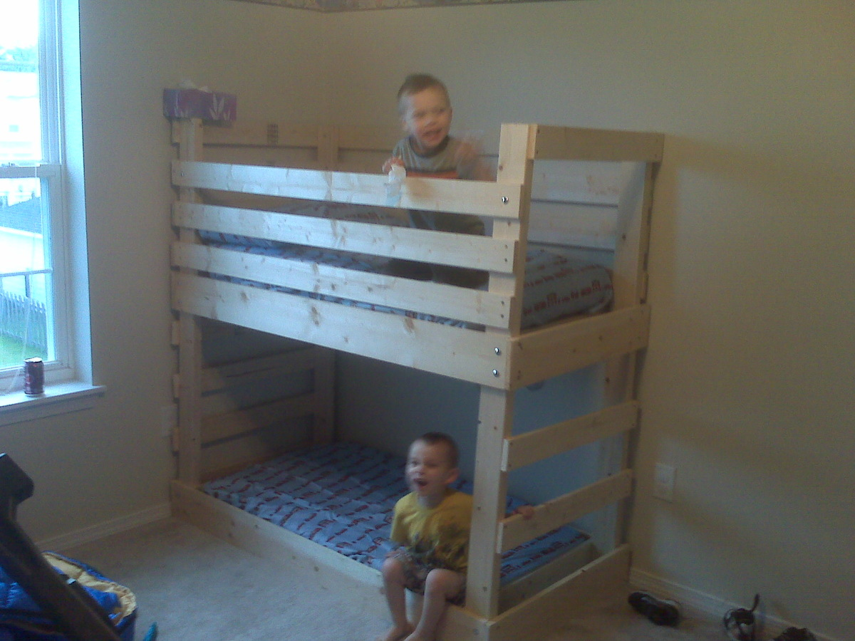 Ana White Crib Size Mattress Bunk Beds Diy Projects