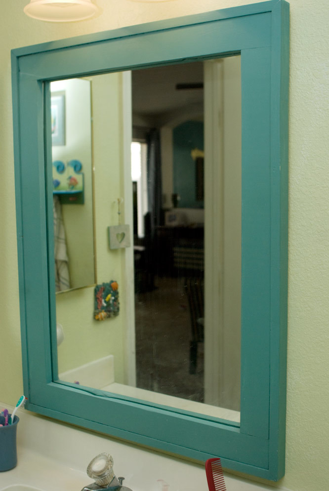 Ana White Barnwood Frame As A Vanity Mirror Diy Projects