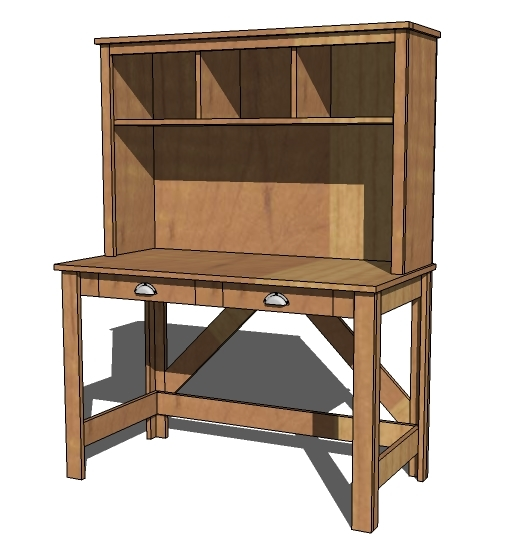 Ana White Brookstone Desk Hutch DIY Projects - Computer desk with hutch plans