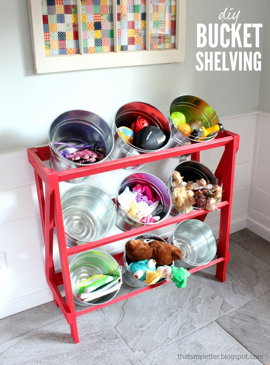 Build A Stand To Hold Buckets Pails Or Baskets Super Easy And Quick Like Store Displays Plans By Ana White
