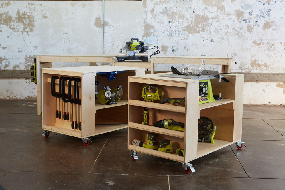 and the tops of the rollout storage carts could function as assembly tables or tables - Rolling Workbench