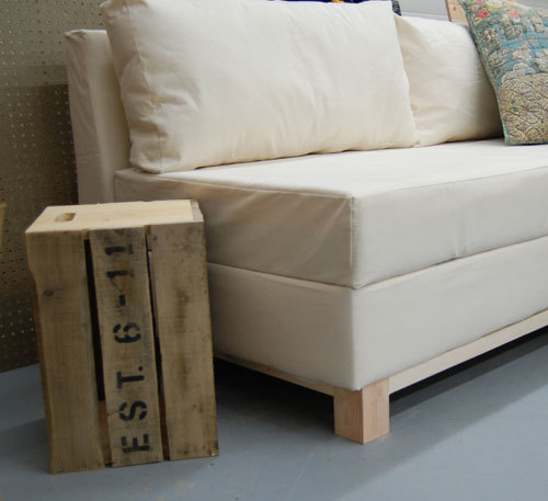 A Sofa That You Can Build With Fold Out Seat Perfect For Storing Extra Pillows And Blankets Based Off Sleeping Pad Foam Cushion So Seating Surface