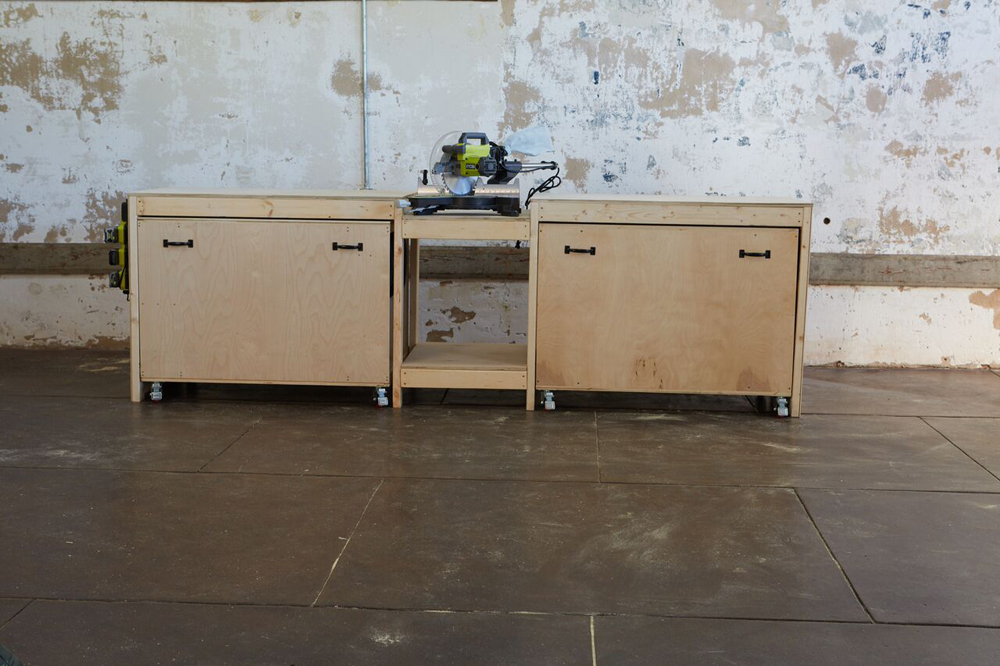 Ana white ultimate roll away workbench system for ryobi blogger and the tops of the rollout storage carts could function as assembly tables or sandingfinishing tables greentooth Gallery
