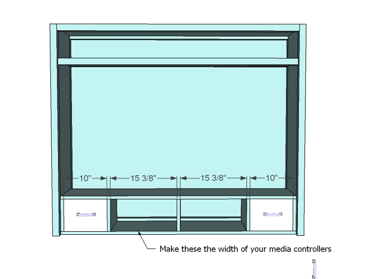 Hutch There Is A 1 2 Gap Behind The Controller Shelf For Wires Drawer Fronts Are Simply 1x8s On Hinges Perfect Spot To Hide Remotes And