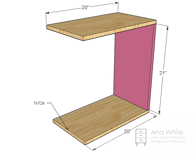 Ana white rolling c end table or sofa table diy projects for Side table for sectional sofa
