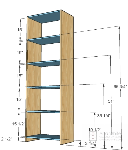 6 1x16 25 1 2 Shelves 4 Plywood 82 X 27 Back 1x3 Footer