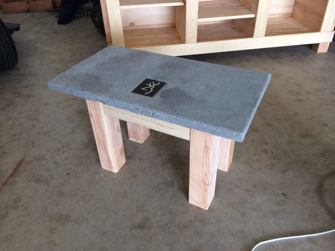ana white | outdoor concrete/wood coffee table w/ browning emblem
