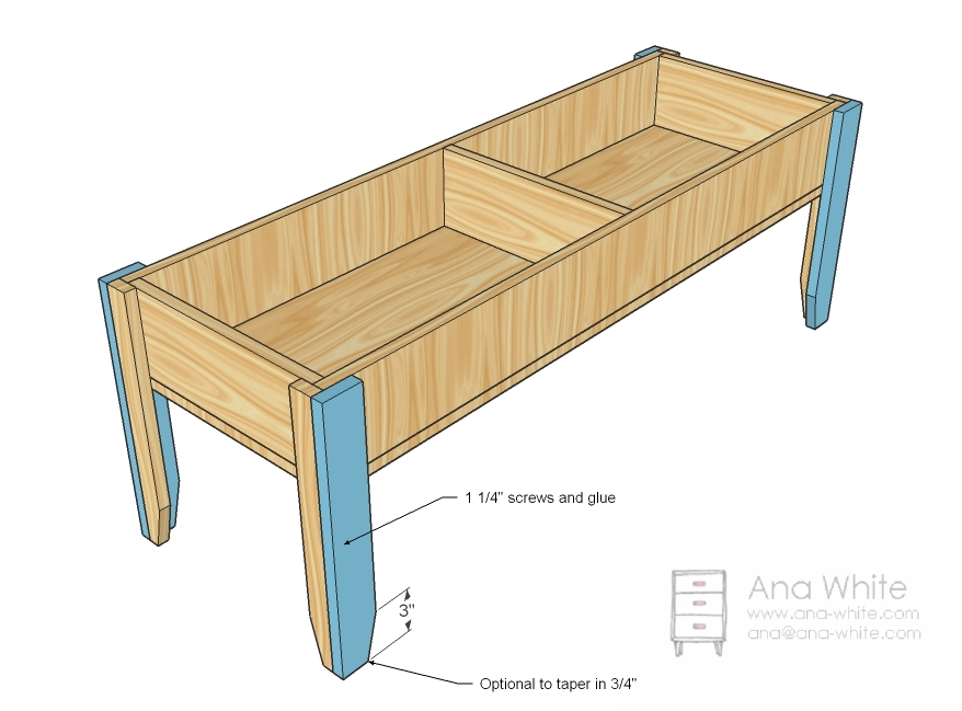 Wooden Train Table Coffee Table | Ana White