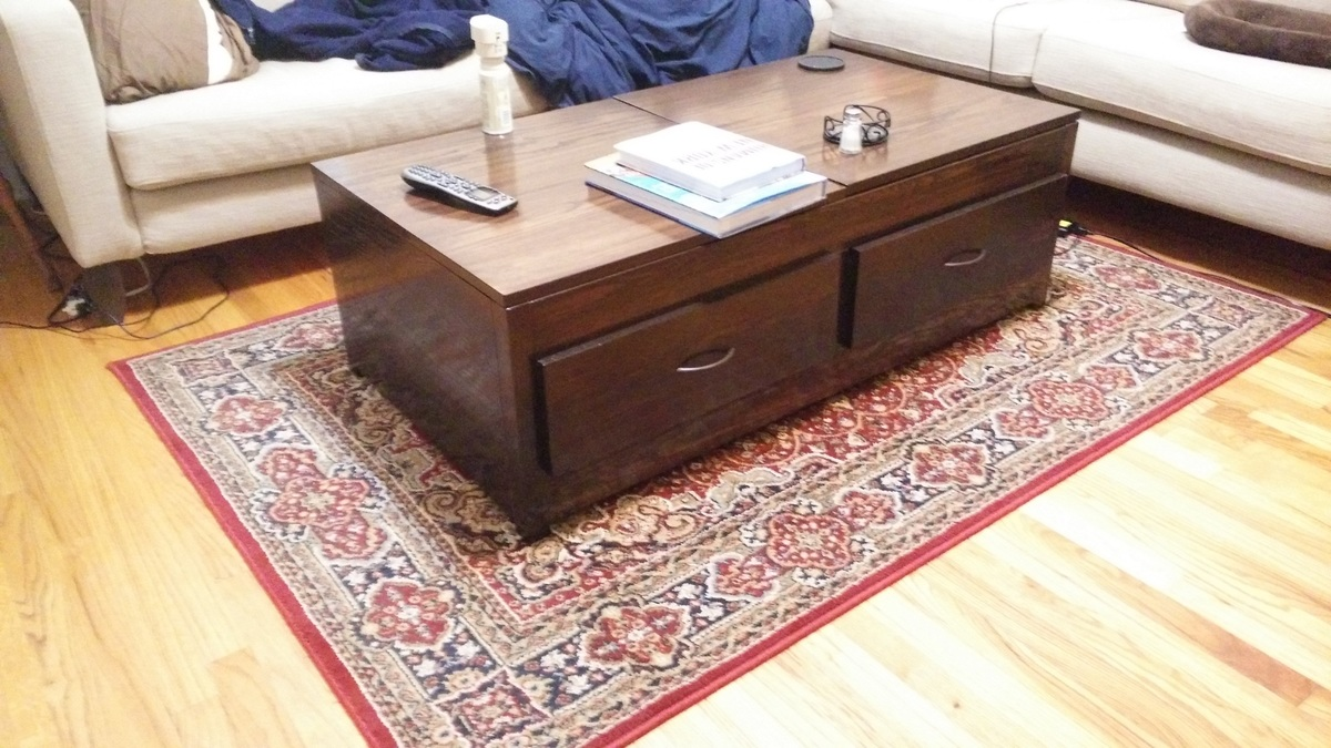 Ana White Lift Top Coffee Table DIY Projects - Lift top coffee table with storage drawers
