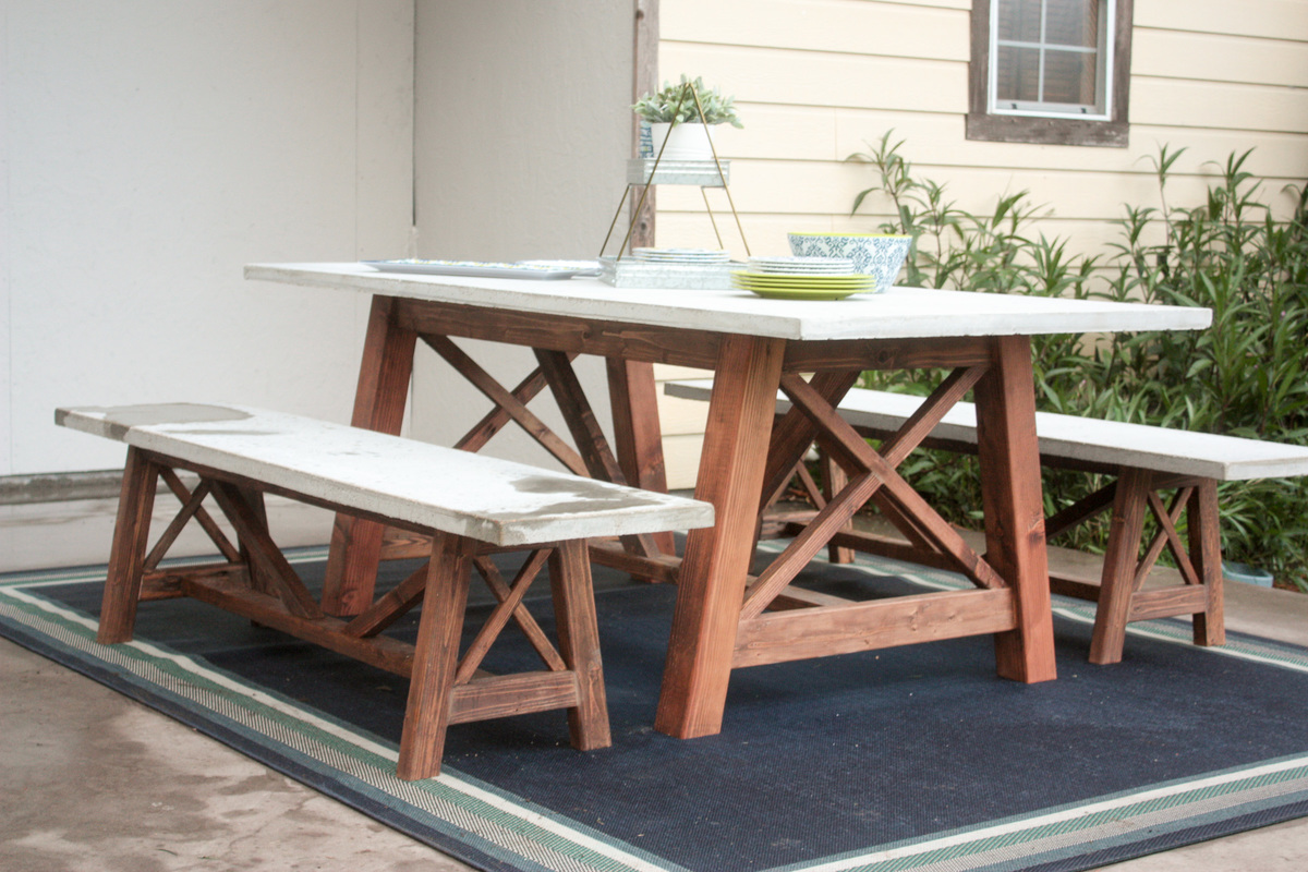 Ana White | X Base Outdoor Concrete Table and Bench Set - DIY Projects
