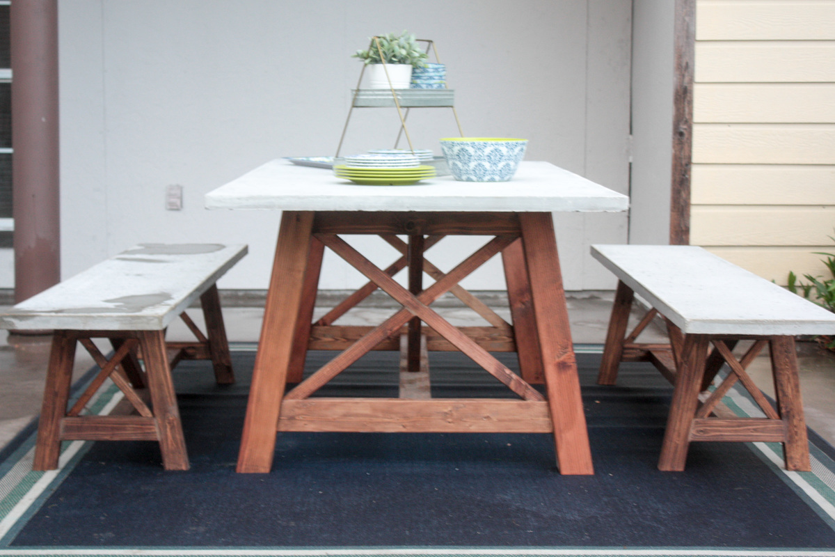 Ana white x base outdoor concrete table and bench set for Concrete patio table set